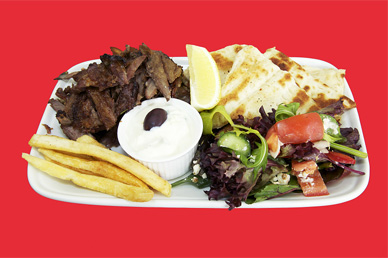 Lamb cooked on gyros meal